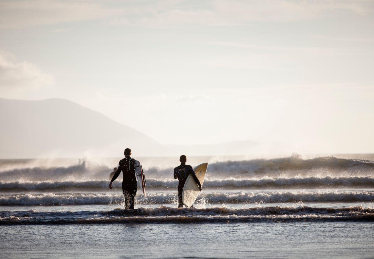Surfing at Inch Beach, Dingle Peninsula, Toursim Ireland