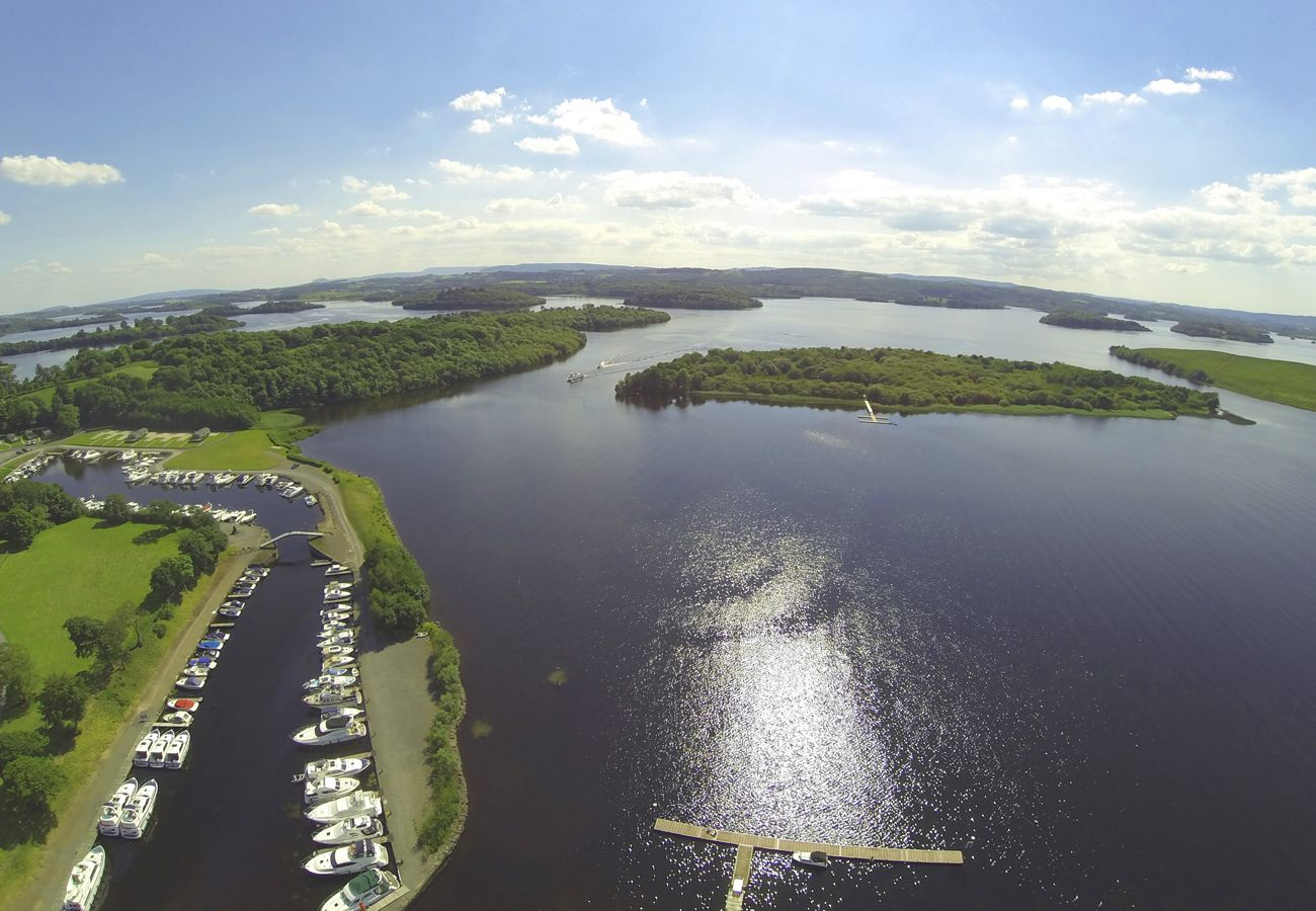 Aerial view Lower Lough Erne Boating Holiday Fermanagh Northern Ireland