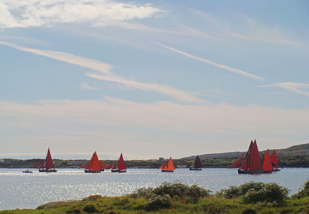 Sail boats at Betraghboy Bay, Inishnee, Roundstone, Connemara, County Galway