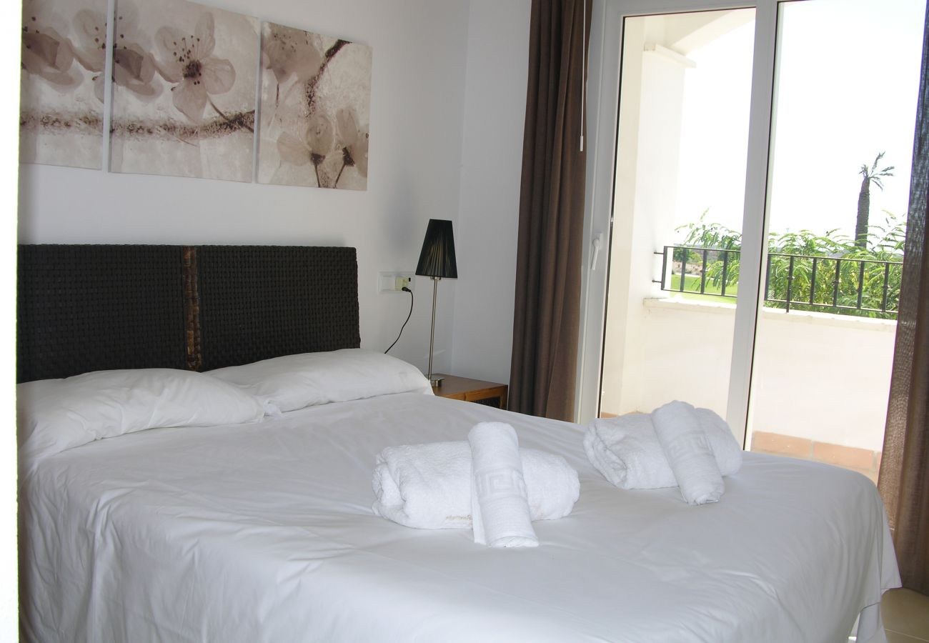 Beautiful and spacious bedroom of Hacienda Riquelme apartment