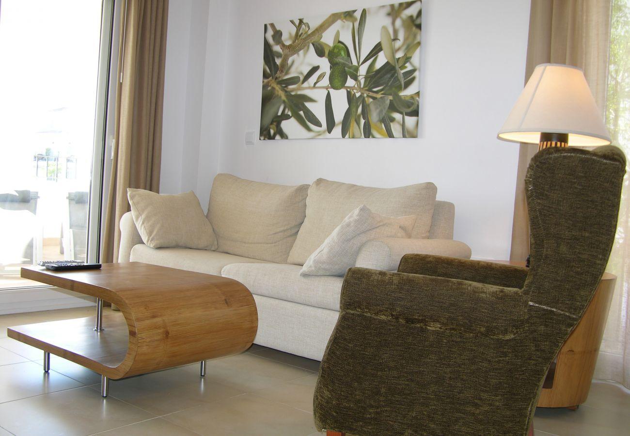 Beautiful living room of Hacienda Riquelme apartment