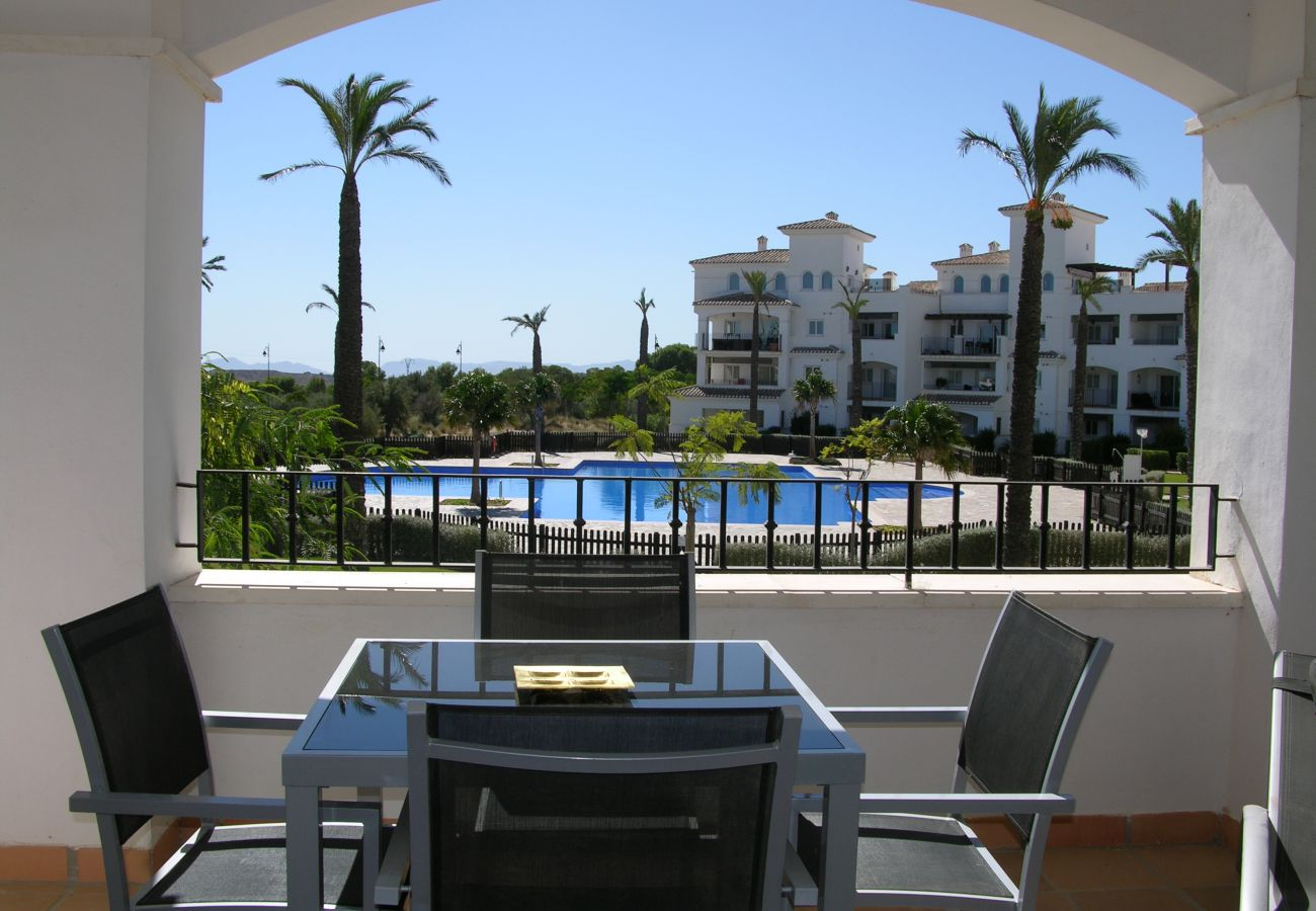 Beautiful and well equipped terrace of Hacienda Riquelme apartment