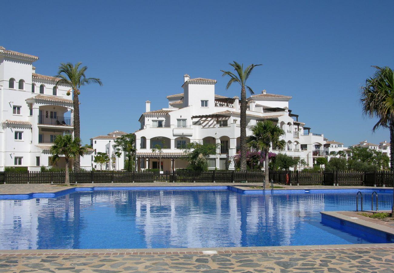 Beautiful swimming pool of Hacienda Riquelme apartment